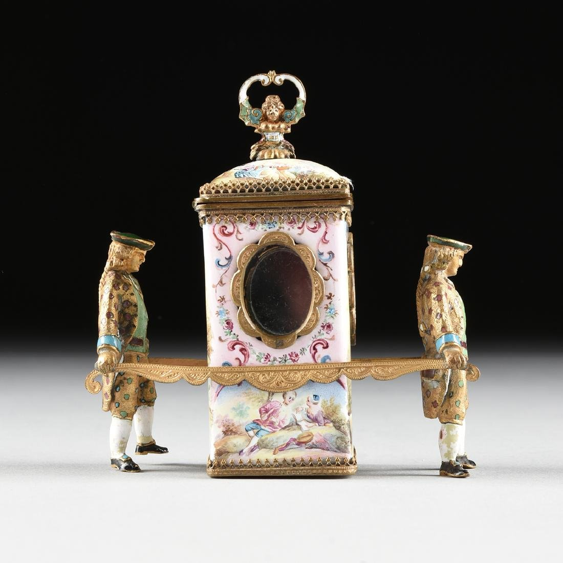 A VIENNESE MINIATURE FAUX JEWELED AND ENAMEL SEDAN - 2