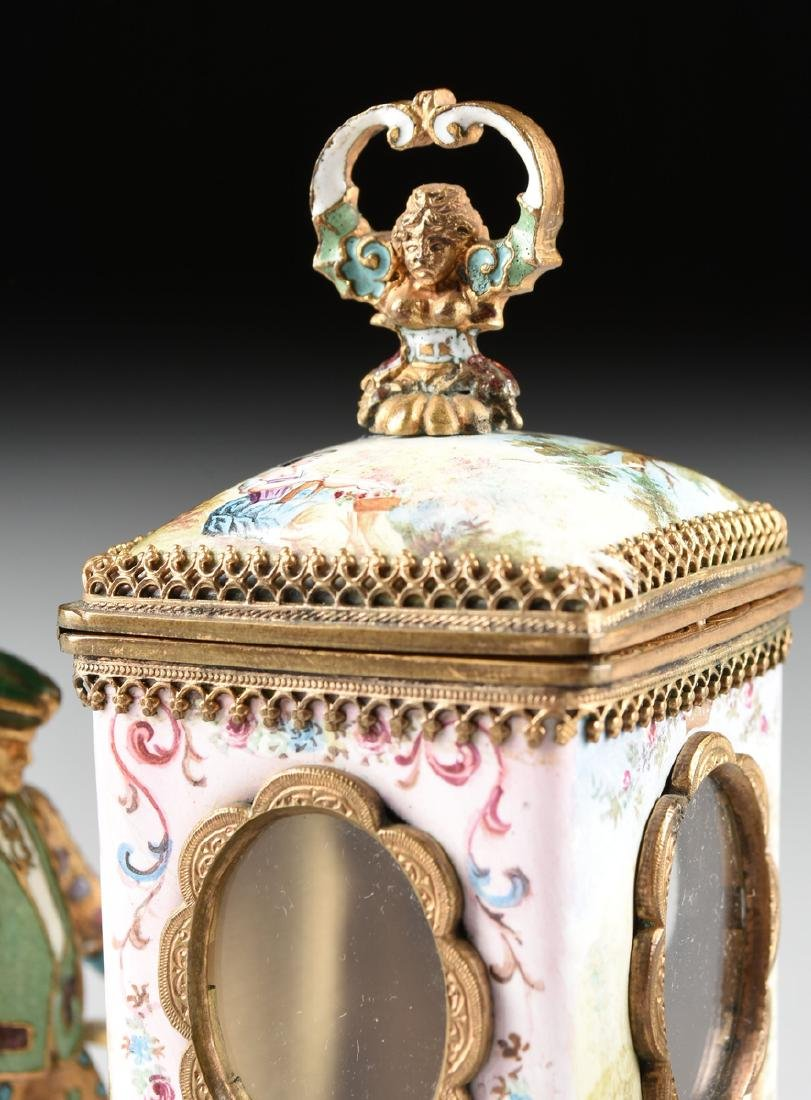 A VIENNESE MINIATURE FAUX JEWELED AND ENAMEL SEDAN - 3