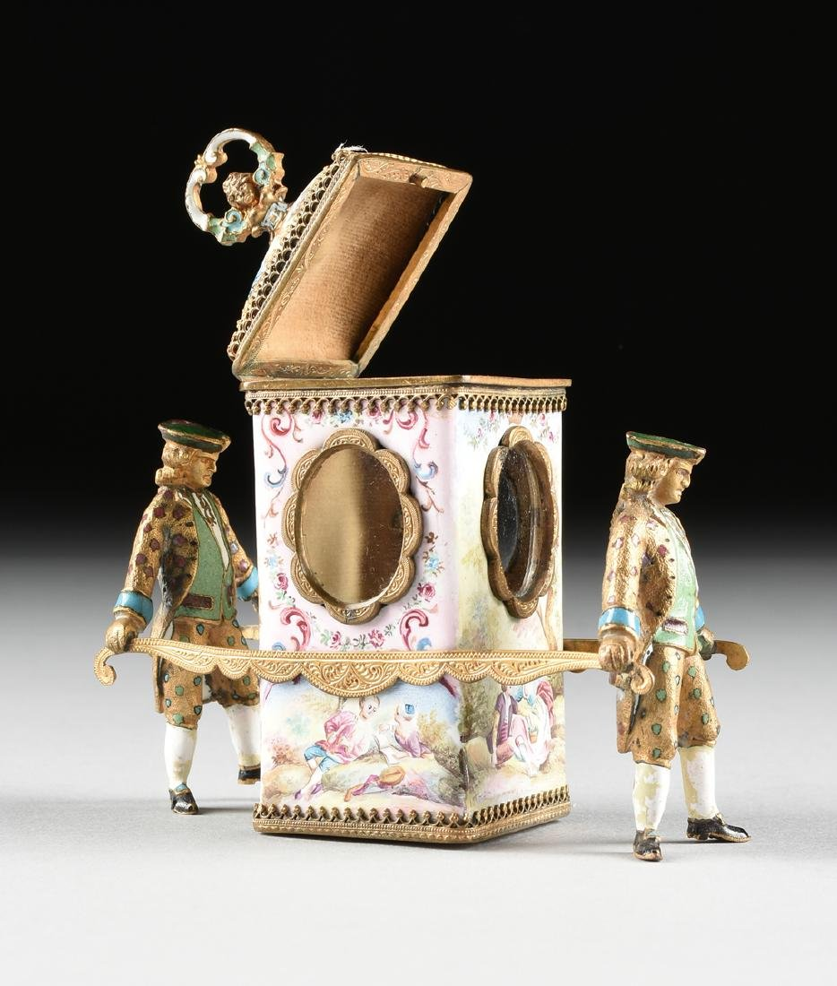A VIENNESE MINIATURE FAUX JEWELED AND ENAMEL SEDAN - 6