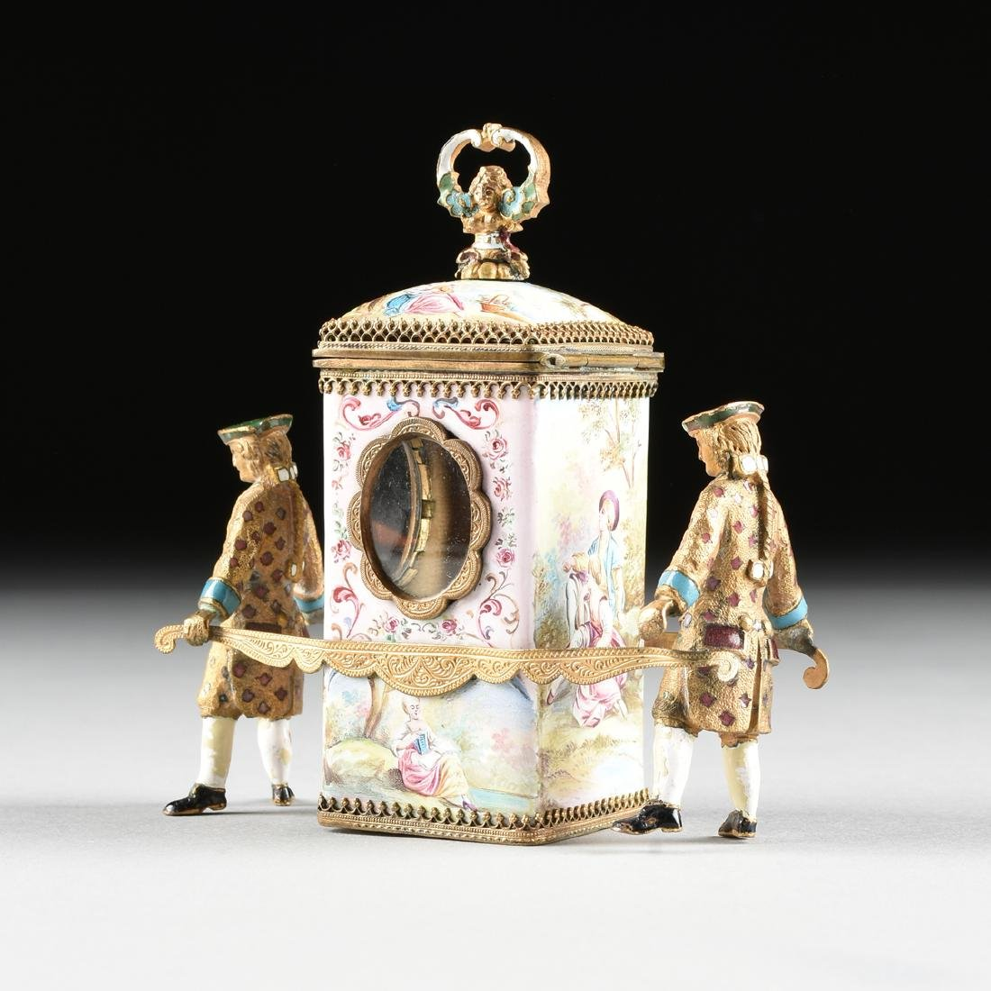 A VIENNESE MINIATURE FAUX JEWELED AND ENAMEL SEDAN - 8