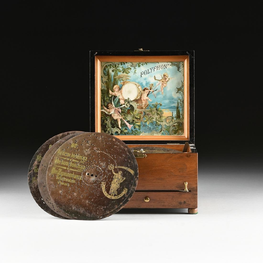 A GERMAN POLYPHON SINGLE COMB MUSIC DISC AND BELL BOX,