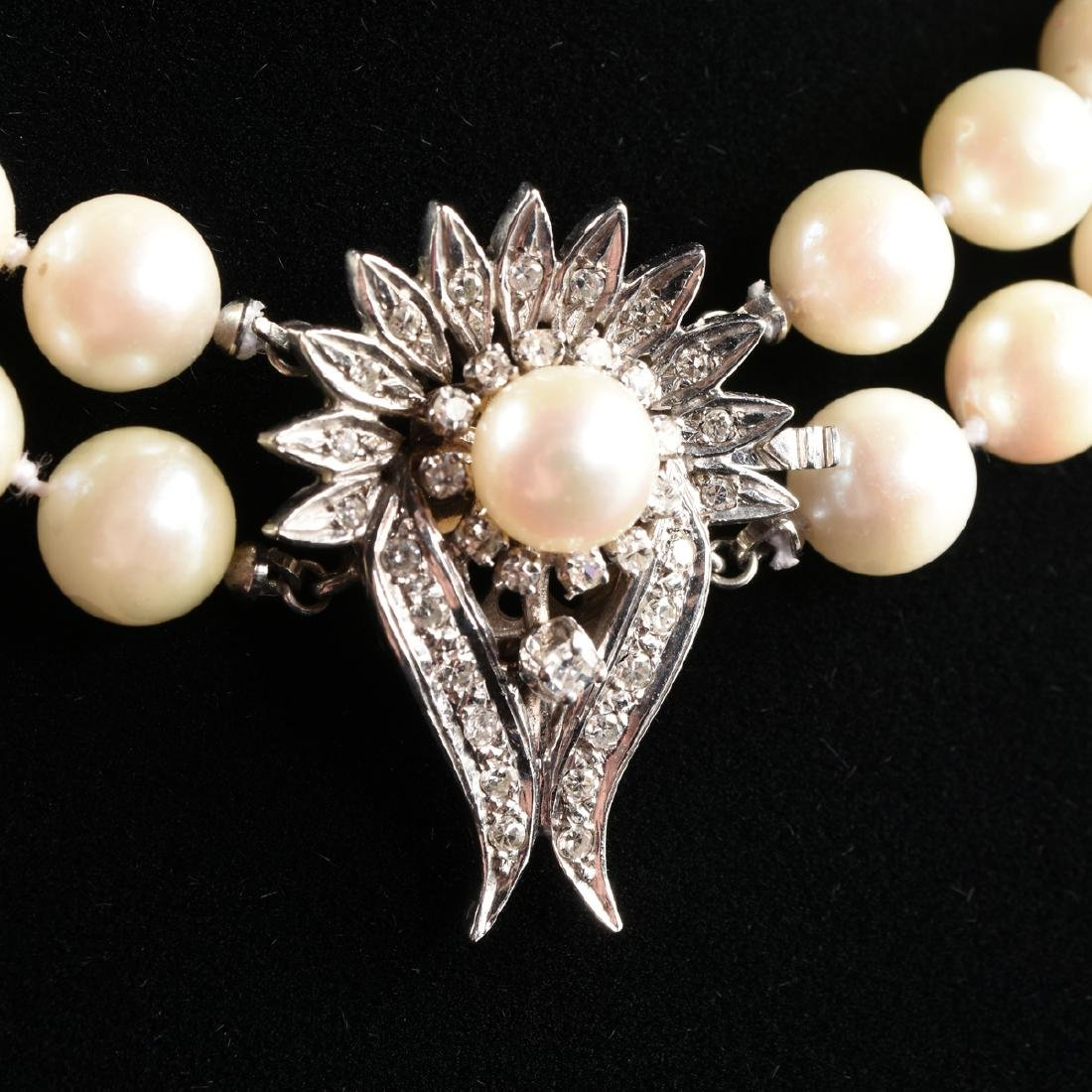 A DOUBLE STRAND AKOYA CULTURED PEARL NECKLACE WITH A - 2