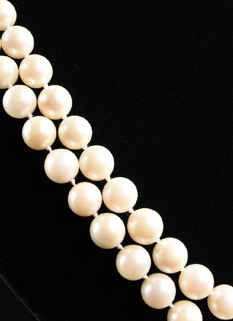 A DOUBLE STRAND AKOYA CULTURED PEARL NECKLACE WITH A - 3