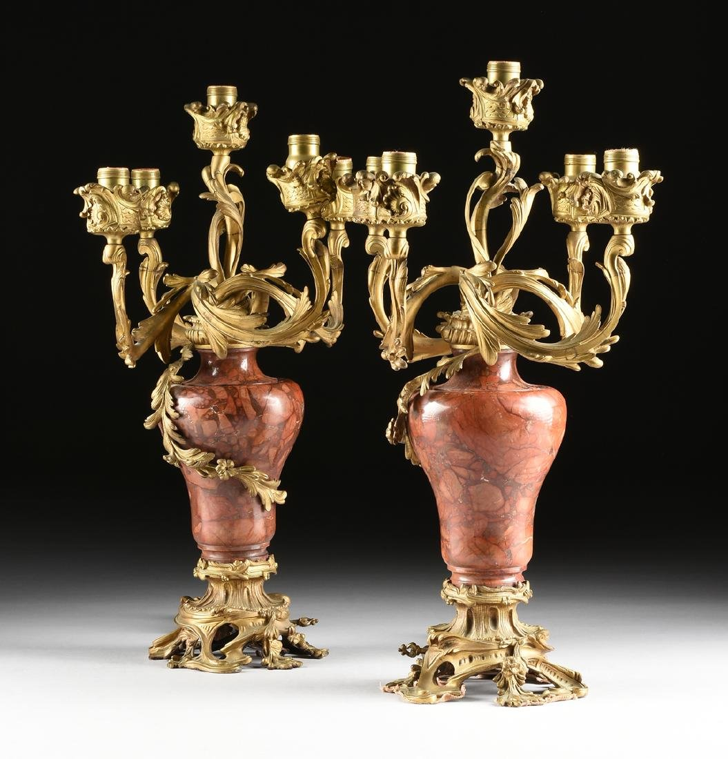A PAIR OF LOUIS XV STYLE GILT METAL MOUNTED ROUGE