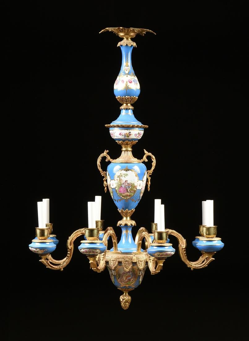 A FRENCH LOUIS XV STYLE GILT BRONZE MOUNTED GILT AND