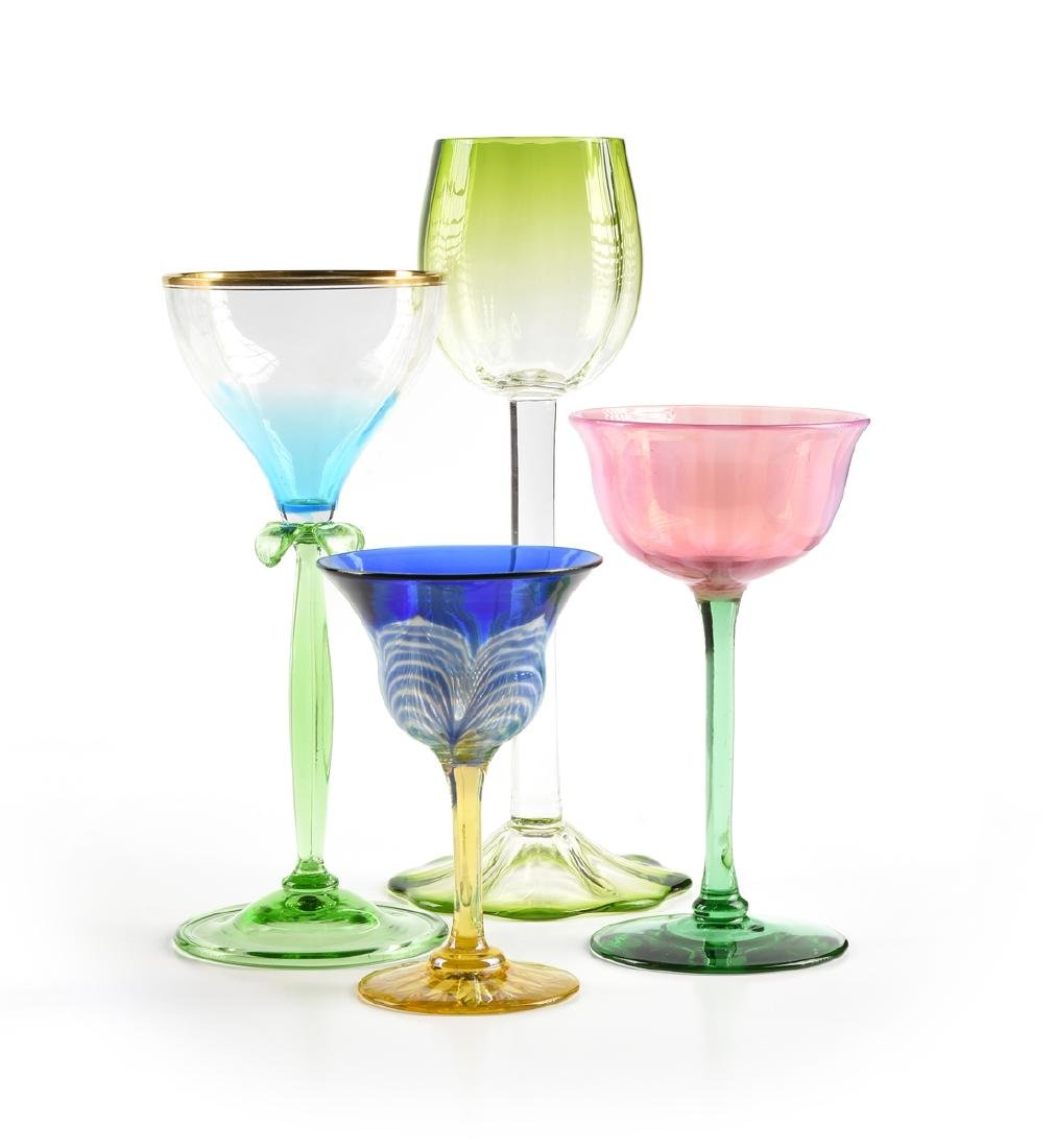 A GROUP OF FOUR AMERICAN AND BOHEMIAN WINE GLASSES,