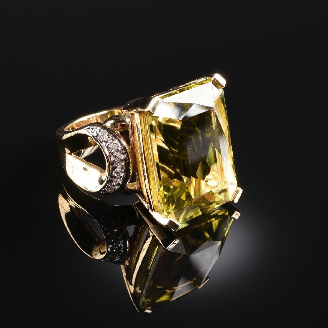 A 14K YELLOW GOLD, DIAMOND, AND YELLOW SAPPHIRE LAURA