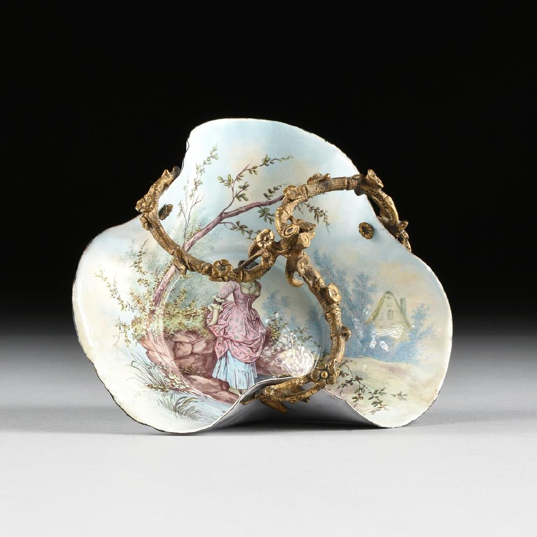 A FRENCH GILT BRONZE MOUNTED AND PAINTED ENAMEL BOWL,