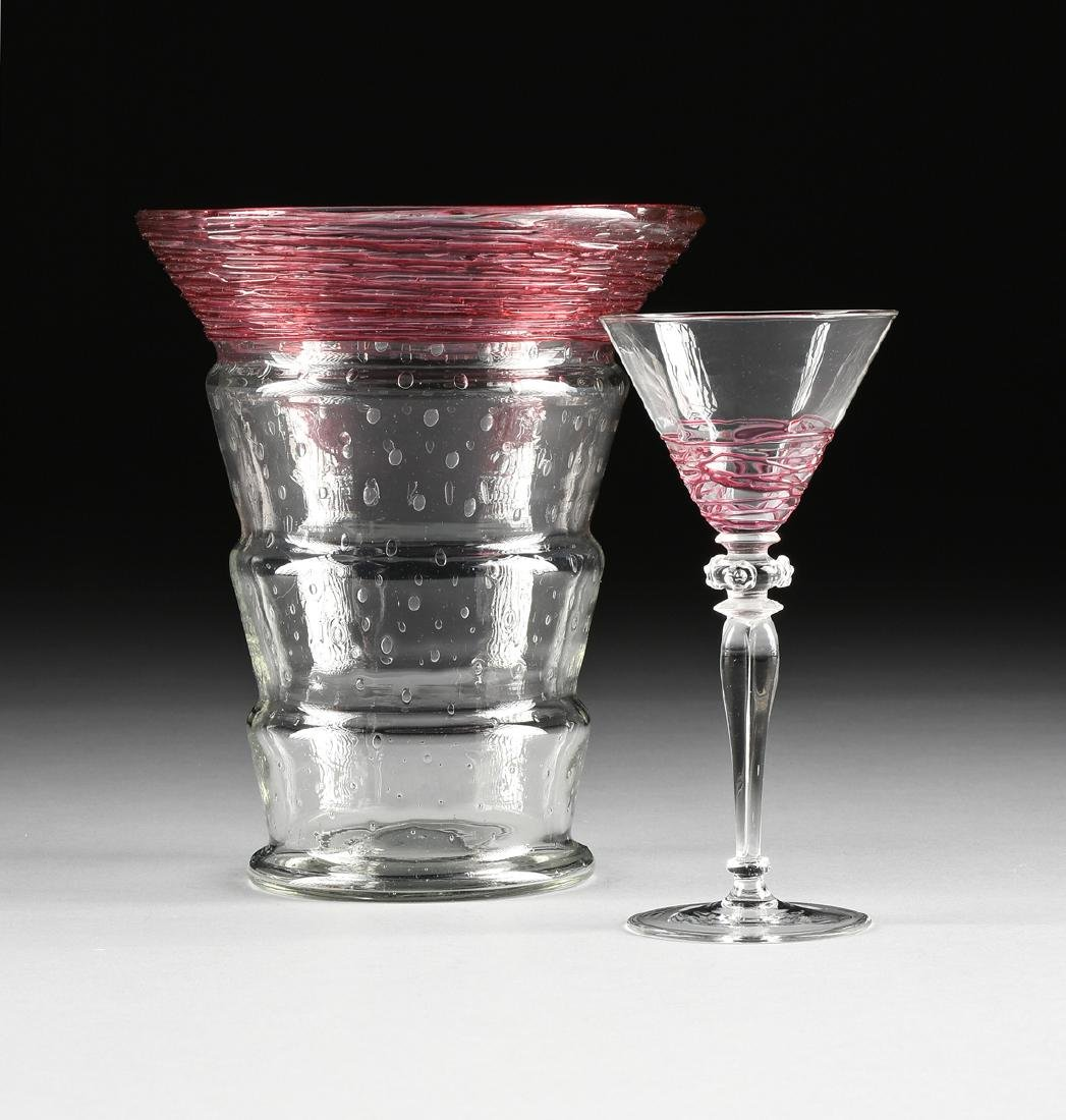 A GROUP OF TWO H.C. FRY GLASS CO. CRANBERRY THREADED