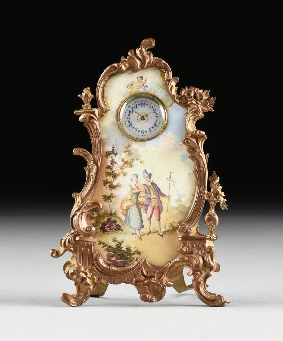 A CONTINENTAL MINIATURE GILT BRONZE AND ENAMEL CLOCK,