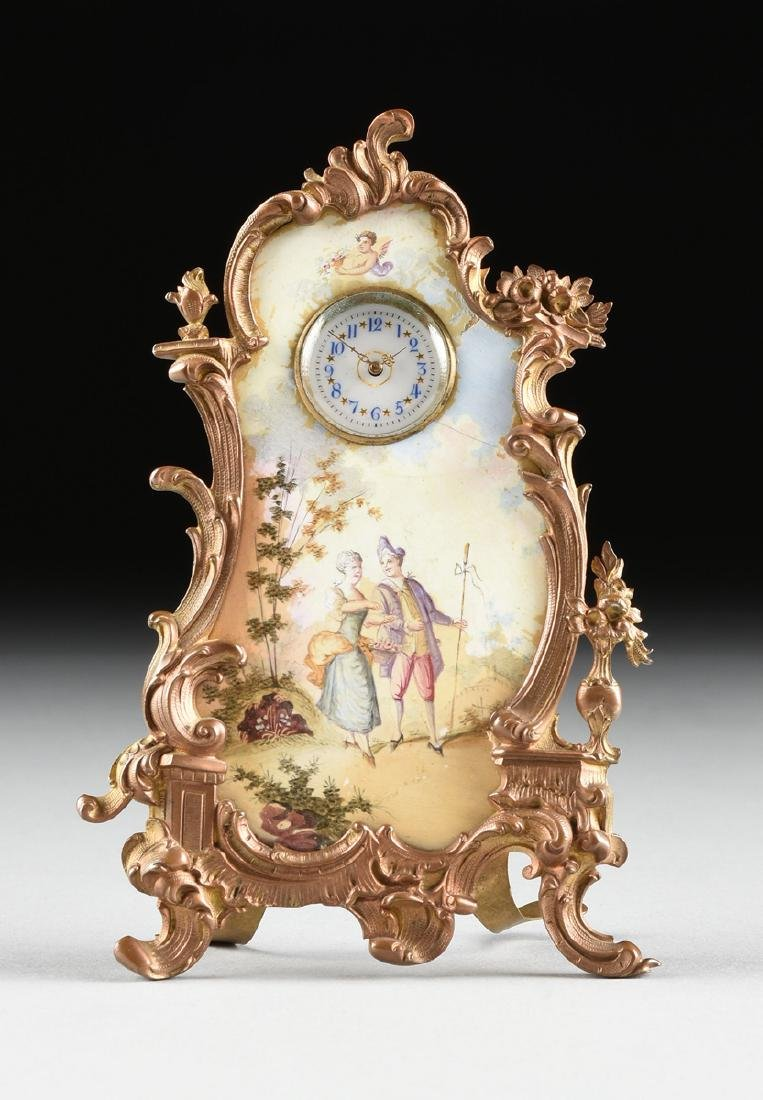 A CONTINENTAL MINIATURE GILT BRONZE AND ENAMEL CLOCK, - 2