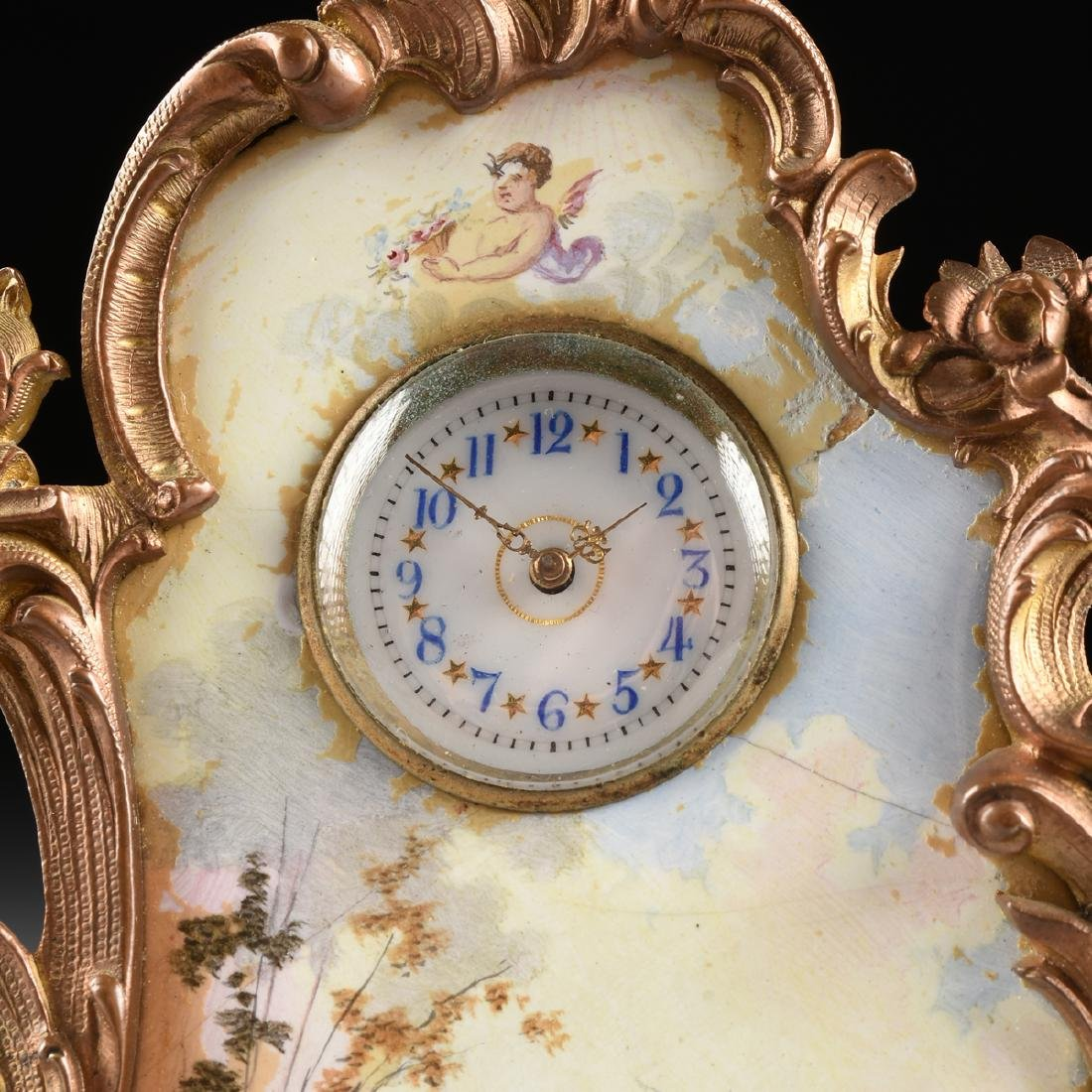 A CONTINENTAL MINIATURE GILT BRONZE AND ENAMEL CLOCK, - 3