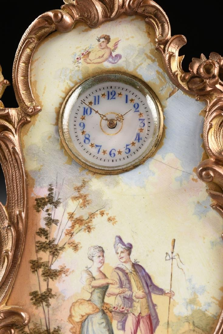 A CONTINENTAL MINIATURE GILT BRONZE AND ENAMEL CLOCK, - 4