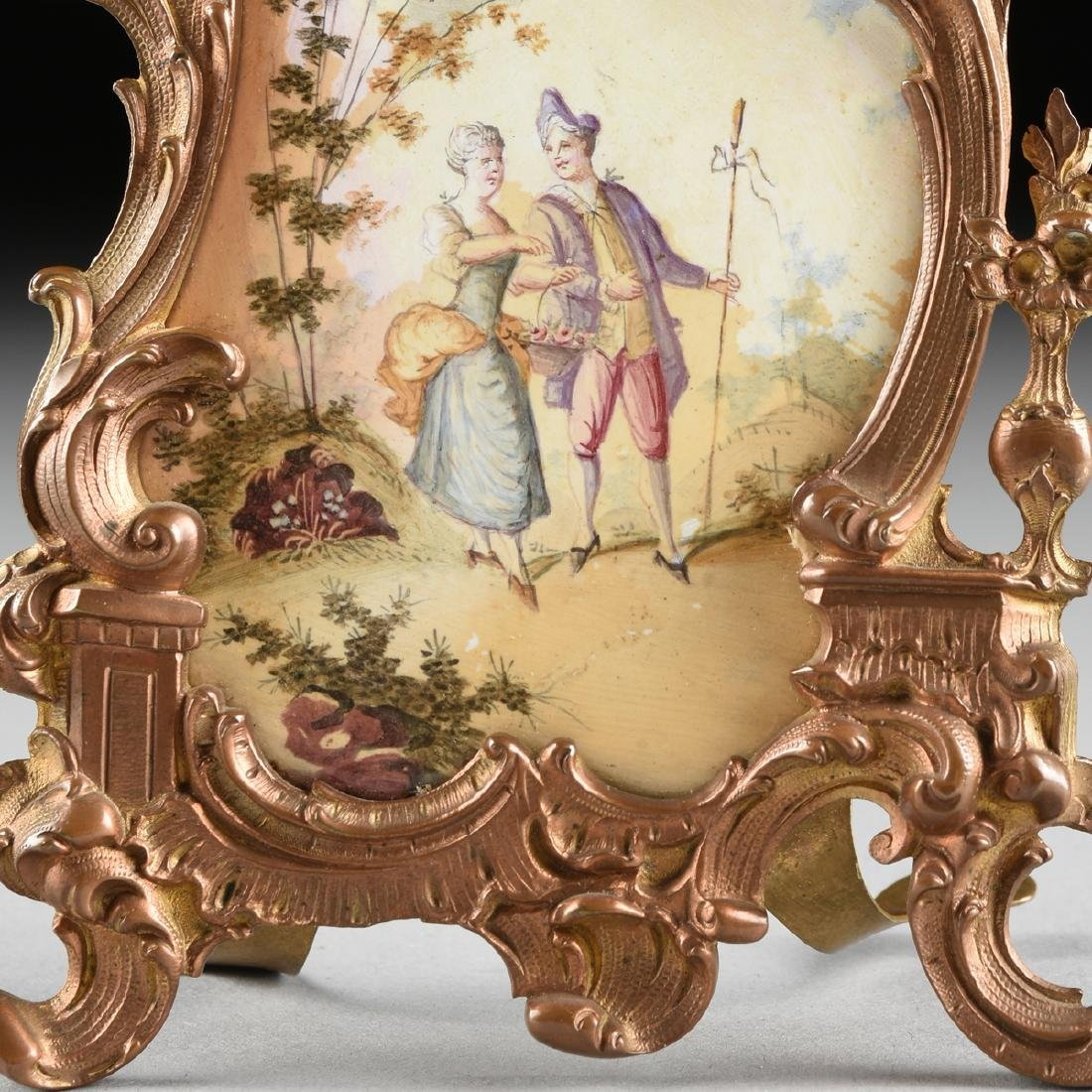 A CONTINENTAL MINIATURE GILT BRONZE AND ENAMEL CLOCK, - 5