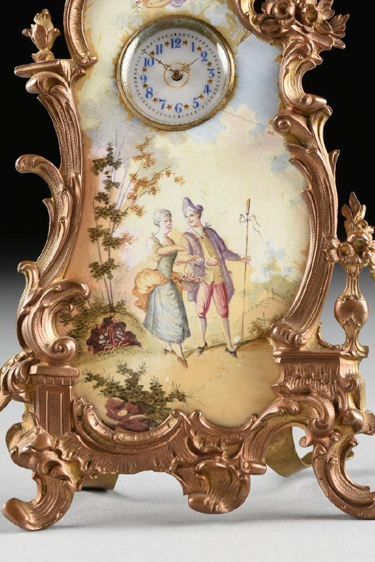 A CONTINENTAL MINIATURE GILT BRONZE AND ENAMEL CLOCK, - 6