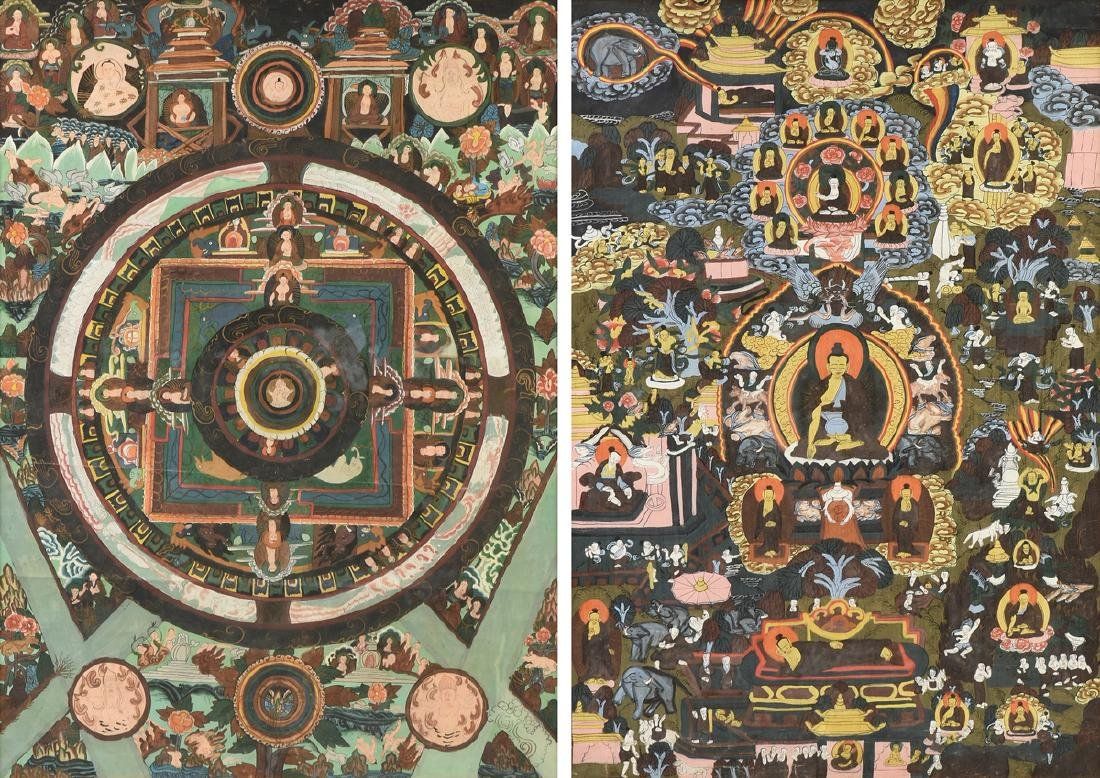 A GROUP OF TWO EAST ASIAN THANGKAS, 20TH CENTURY,