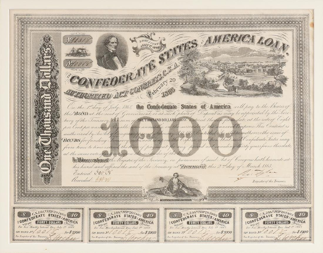 A CONFEDERATE STATES OF AMERICA LOAN FOR 1000 DOLLARS