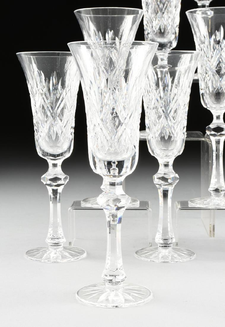 A SET OF ELEVEN WATERFORD CUT CRYSTAL CHAMPAGNE FLUTES - 2