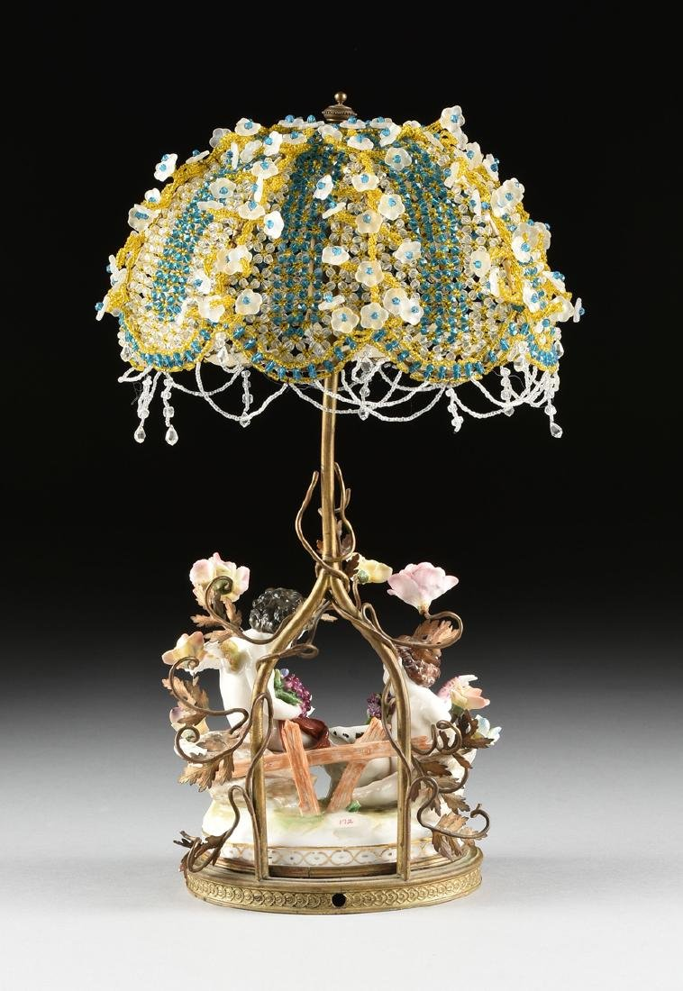 A GERMAN PAINTED PORCELAIN FIGURAL GROUP LAMP, POSSIBLY - 6