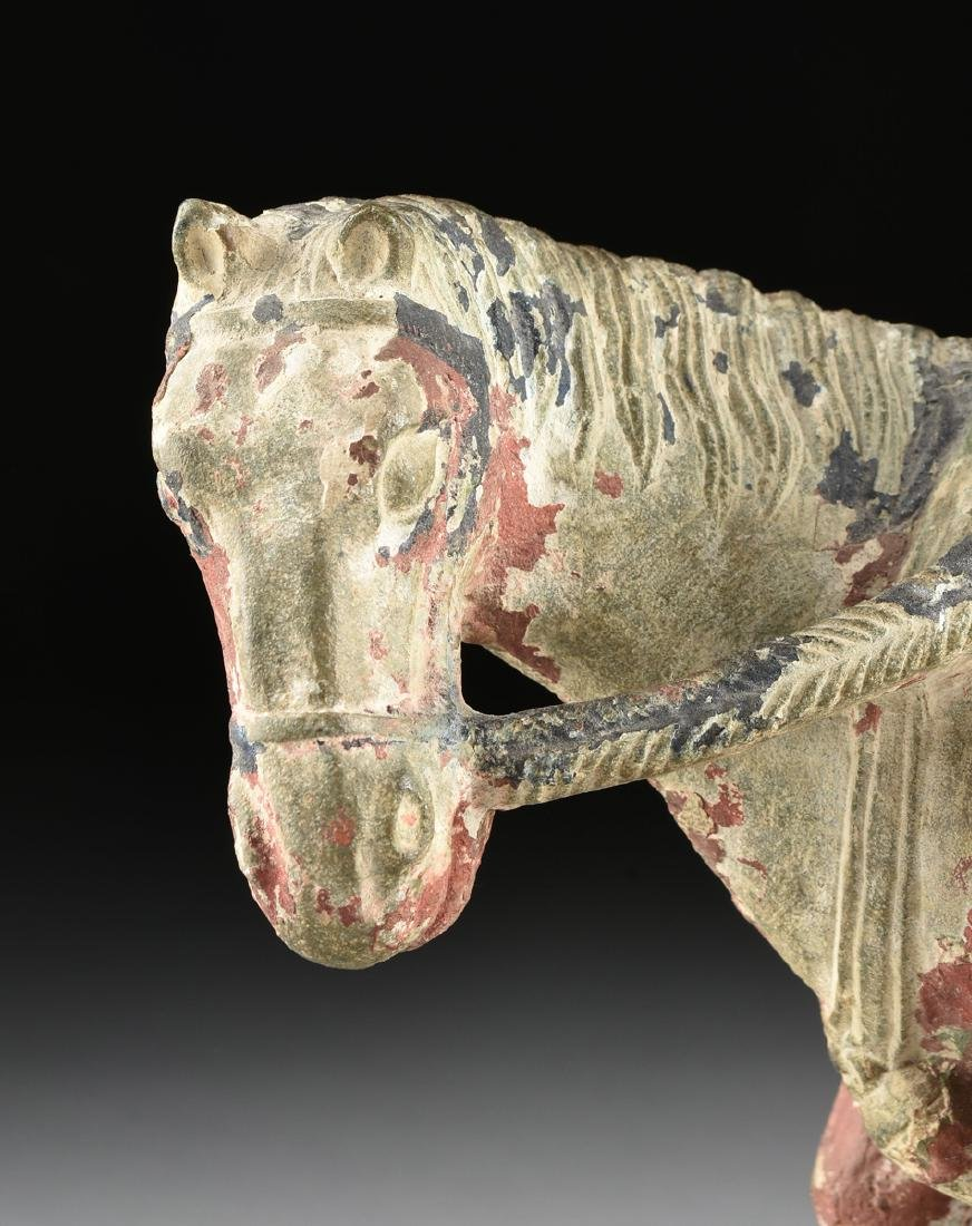 A TANG DYNASTY STYLE CARVED STONE STATUE OF A HORSE AND - 2