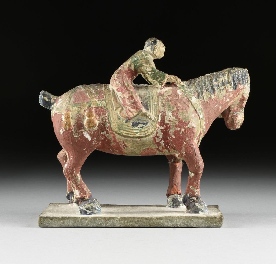 A TANG DYNASTY STYLE CARVED STONE STATUE OF A HORSE AND - 6