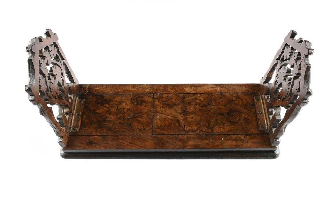 A BLACK FOREST CARVED MAHOGANY AND BURLED BLACK WALNUT - 3