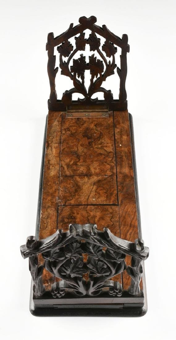A BLACK FOREST CARVED MAHOGANY AND BURLED BLACK WALNUT - 5