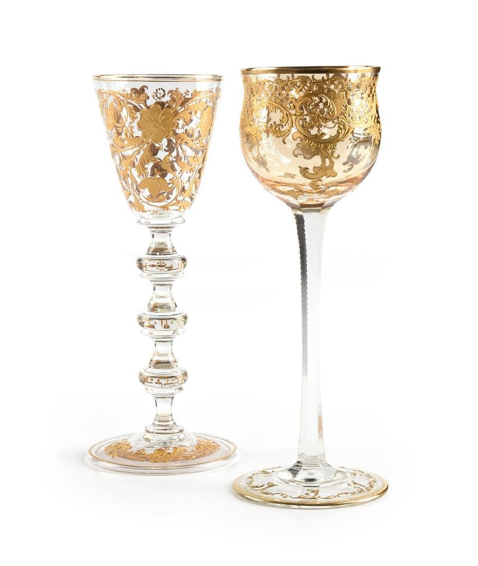 A GROUP OF TWO BOHEMIAN WINE GOBLETS WITH RAISED GILT