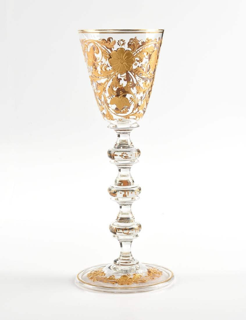 A GROUP OF TWO BOHEMIAN WINE GOBLETS WITH RAISED GILT - 2