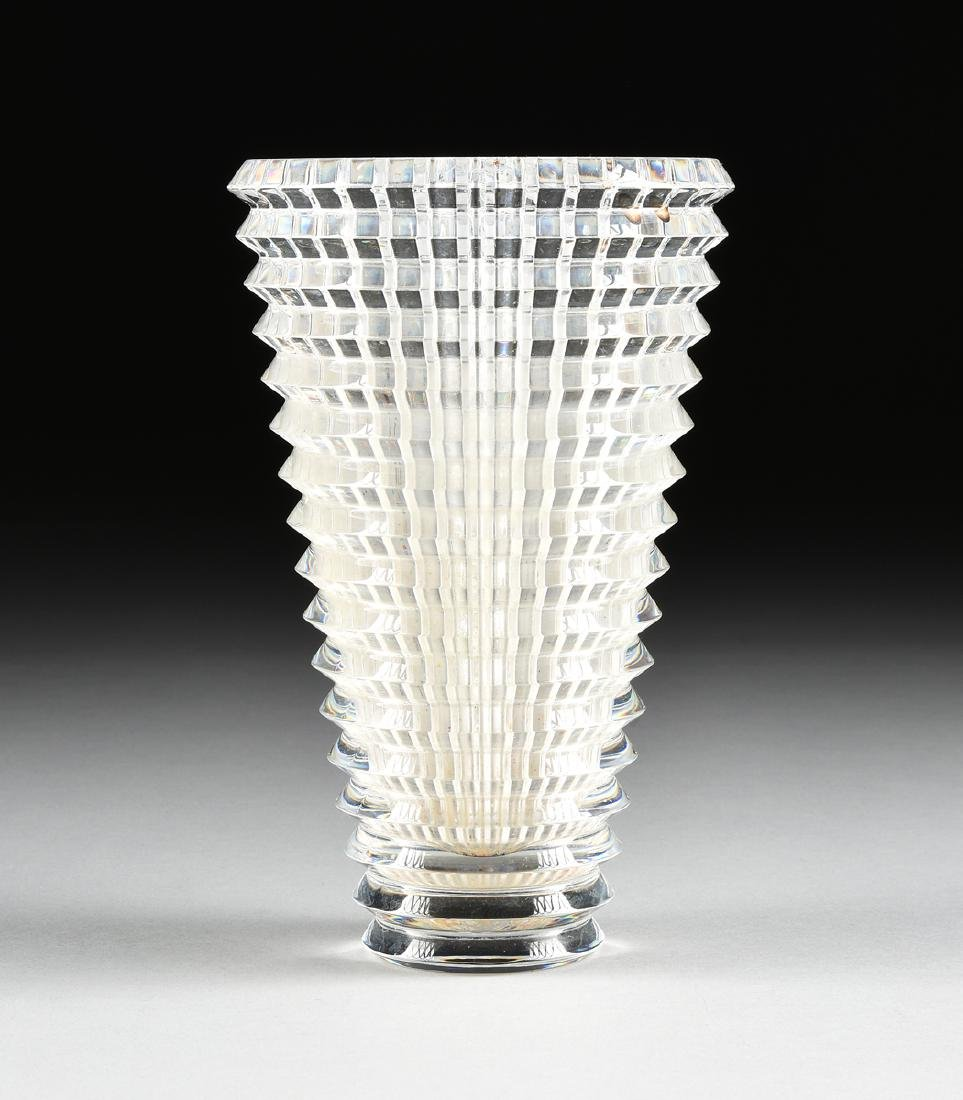 "A BACCARAT CUT CRYSTAL VASE IN THE ""EYE"" PATTERN,"