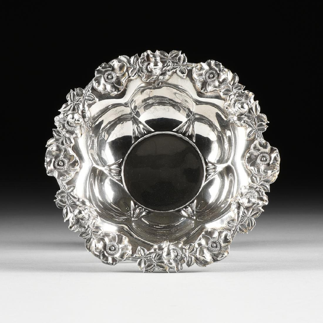 AN UNGER BROTHERS ART NOUVEAU STERLING SILVER BOWL,