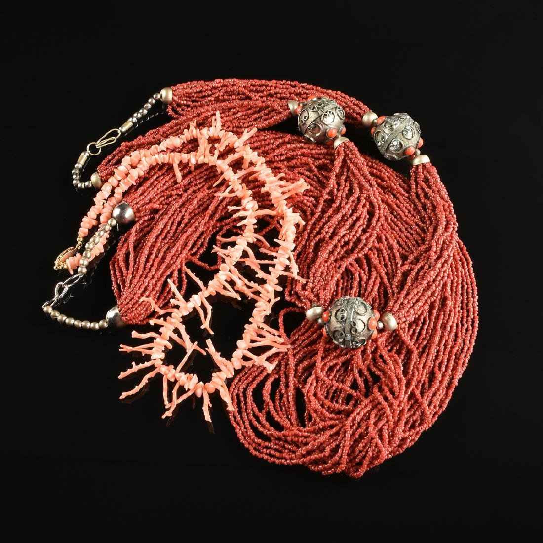 A GROUP OF THREE CORAL NECKLACES, - 2