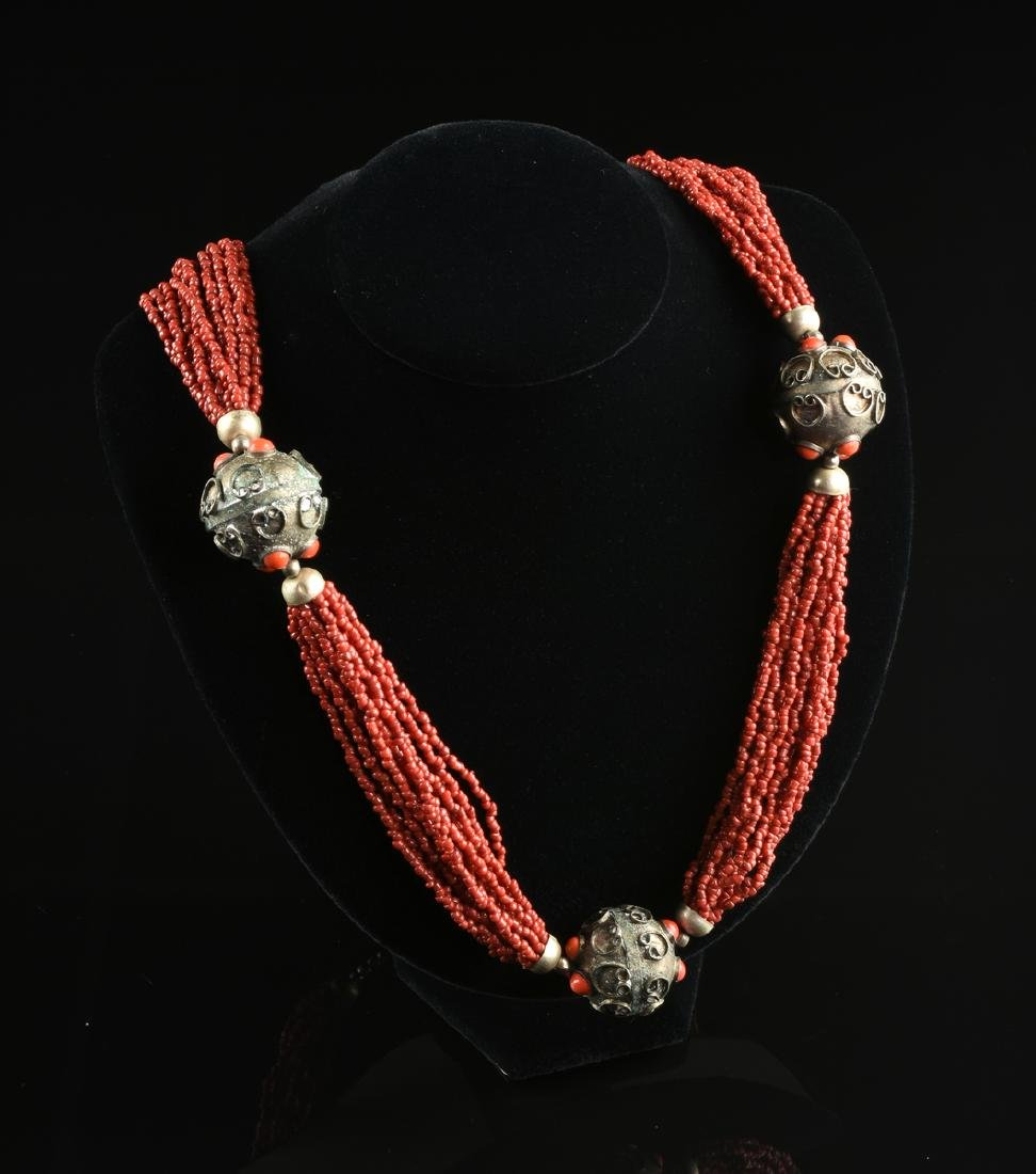 A GROUP OF THREE CORAL NECKLACES, - 4