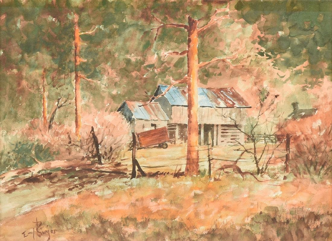 """EMIL BUNJES (American 1902-1974) A PAINTING, """"Tin Roof"""