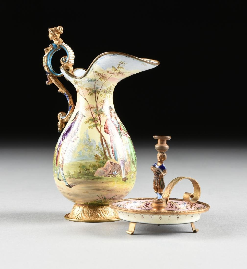 TWO CONTINENTAL MINIATURE GILT METAL MOUNTED AND