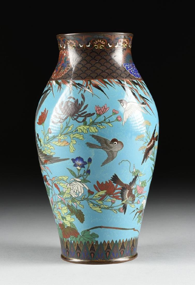 A PAIR OF JAPANESE CLOISONNÉ ENAMELED VASES, MEIJI - 9