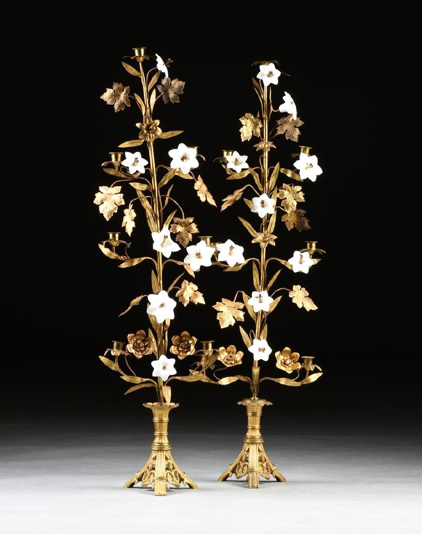 A PAIR OF AESTHETIC STYLE COLORED GLASS, JEWEL, AND