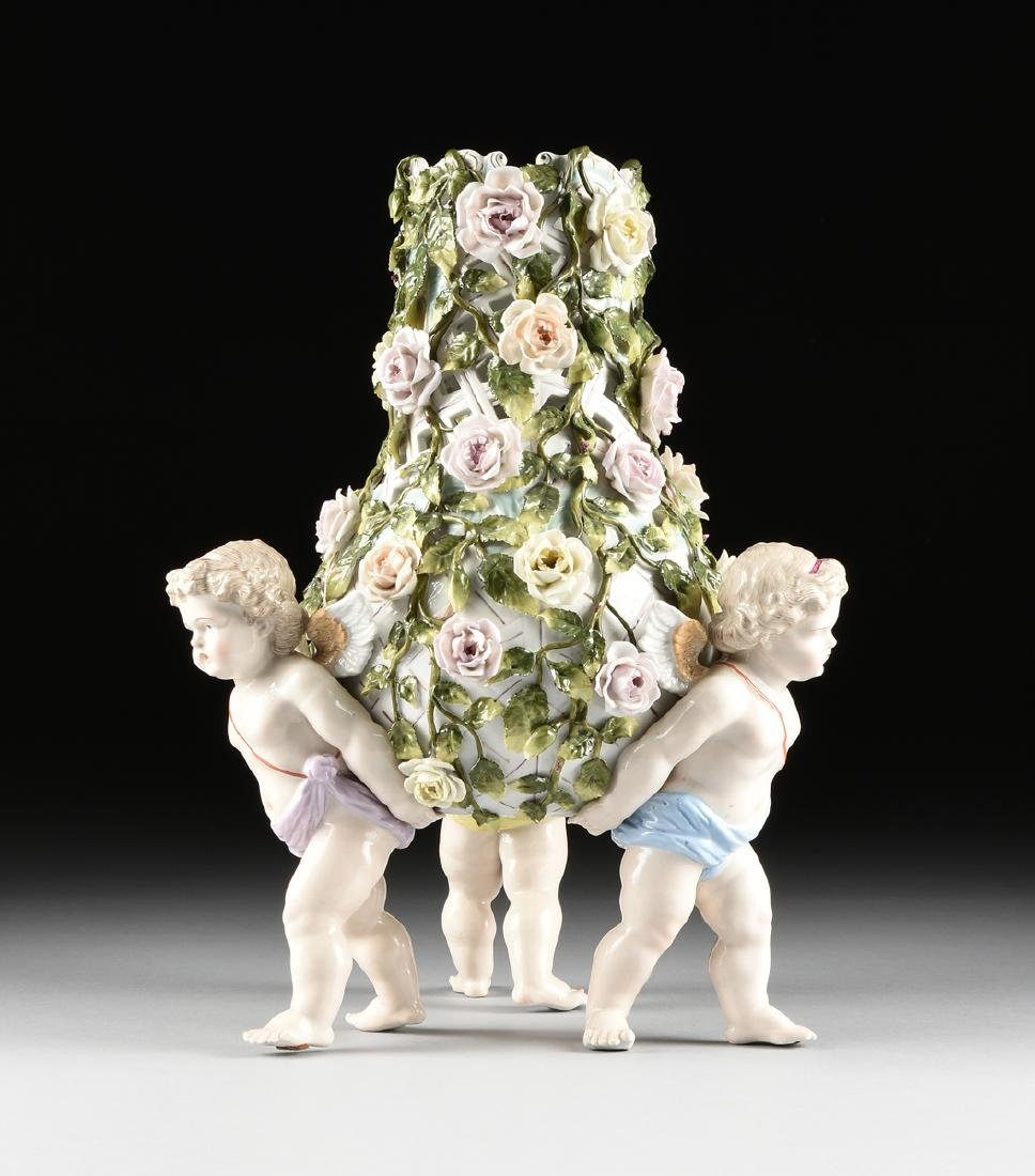 A LARGE GERMAN FLORAL ENCRUSTED AND PAINTED FIGURAL