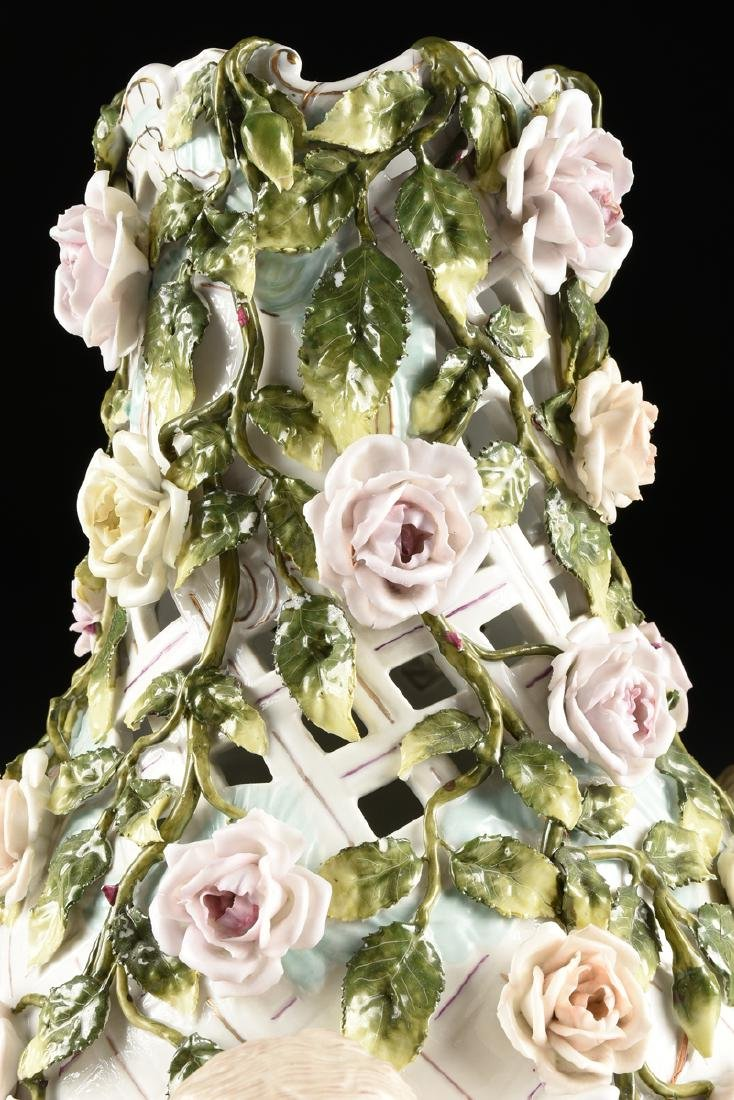A LARGE GERMAN FLORAL ENCRUSTED AND PAINTED FIGURAL - 5