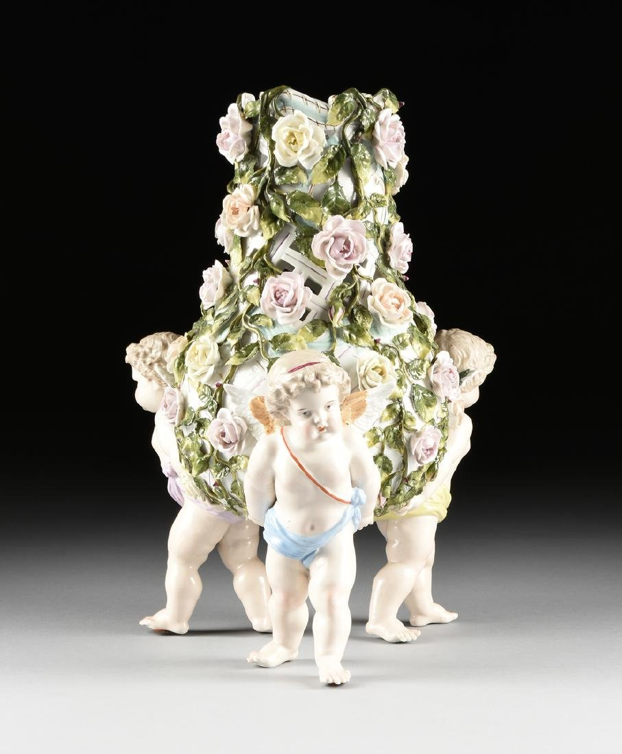 A LARGE GERMAN FLORAL ENCRUSTED AND PAINTED FIGURAL - 6