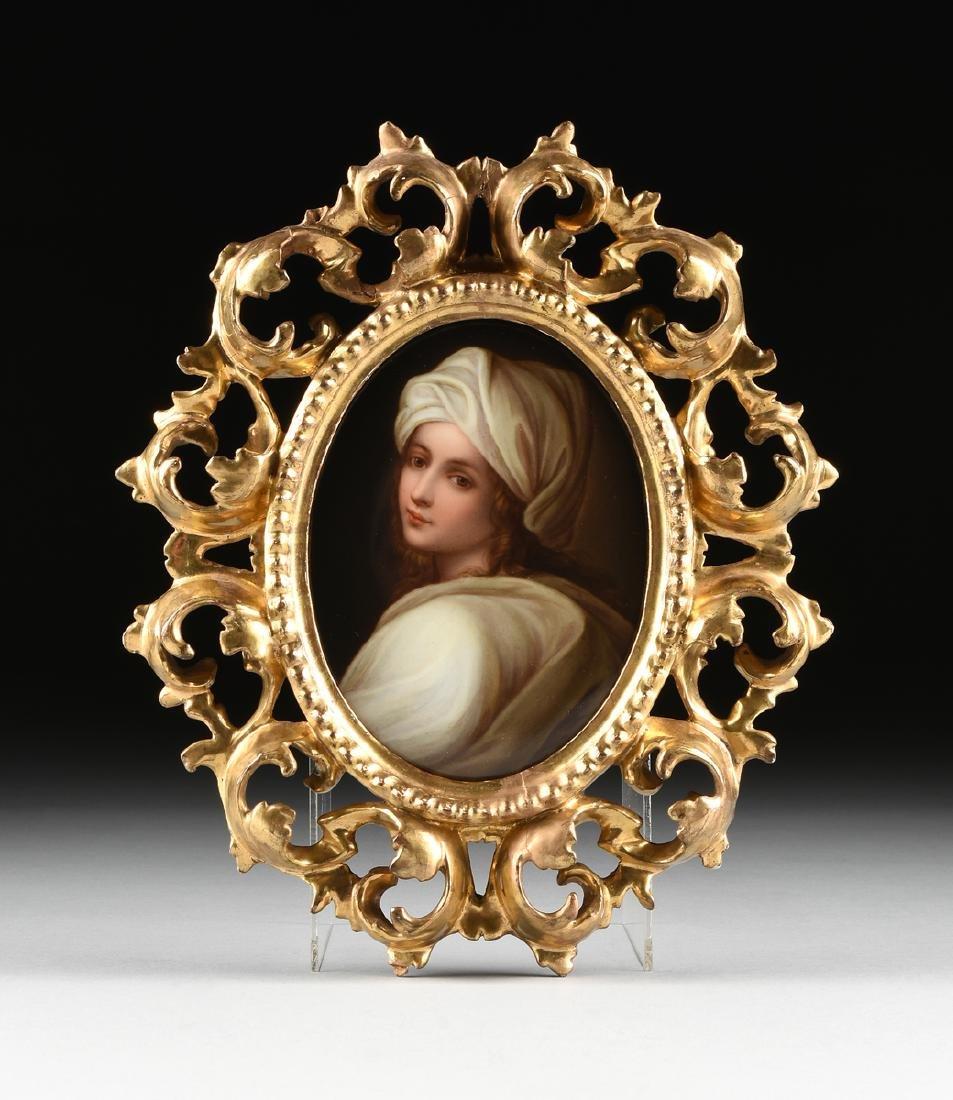 AN ITALIAN PORCELAIN PORTRAIT PLAQUE PORTRAYING