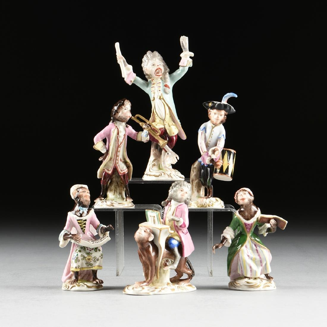 AN ASSEMBLED GROUP OF SIX VOLKSTEDT GILT AND ENAMEL