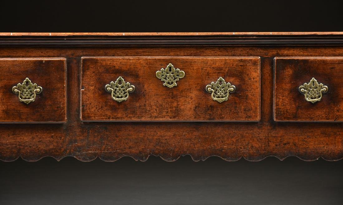A GEORGE III QUEEN ANNE STYLE OAK AND ELM DRESSER, - 3