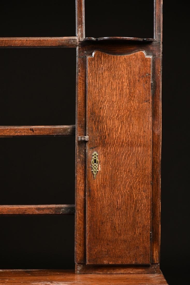 A GEORGE III QUEEN ANNE STYLE OAK AND ELM DRESSER, - 4