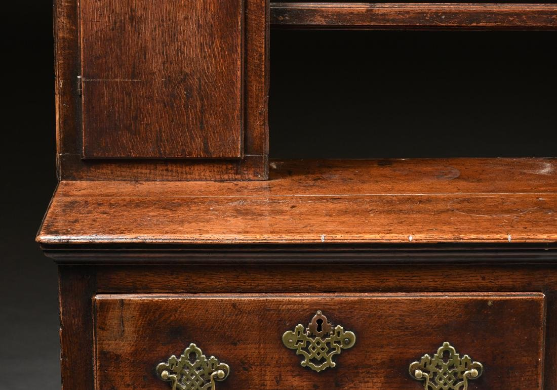 A GEORGE III QUEEN ANNE STYLE OAK AND ELM DRESSER, - 7