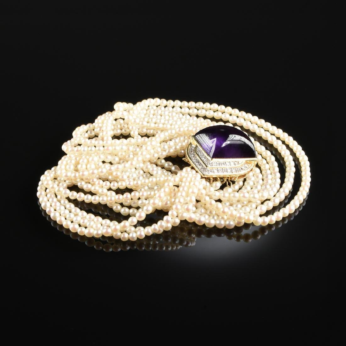 A 14K YELLOW GOLD, PEARL, AMETHYST, AND DIAMOND CHOKER
