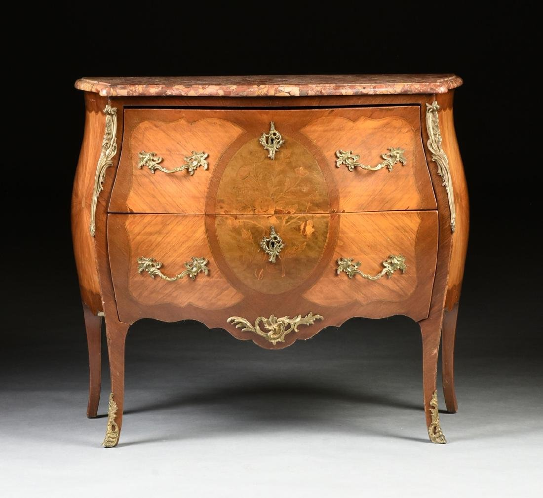 A FRENCH LOUIS XV STYLE MARQUETRY INLAID MIXED WOOD - 10