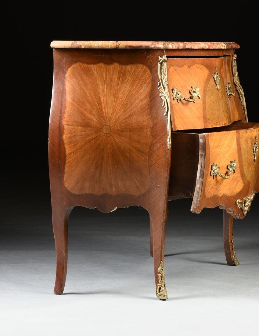A FRENCH LOUIS XV STYLE MARQUETRY INLAID MIXED WOOD - 11