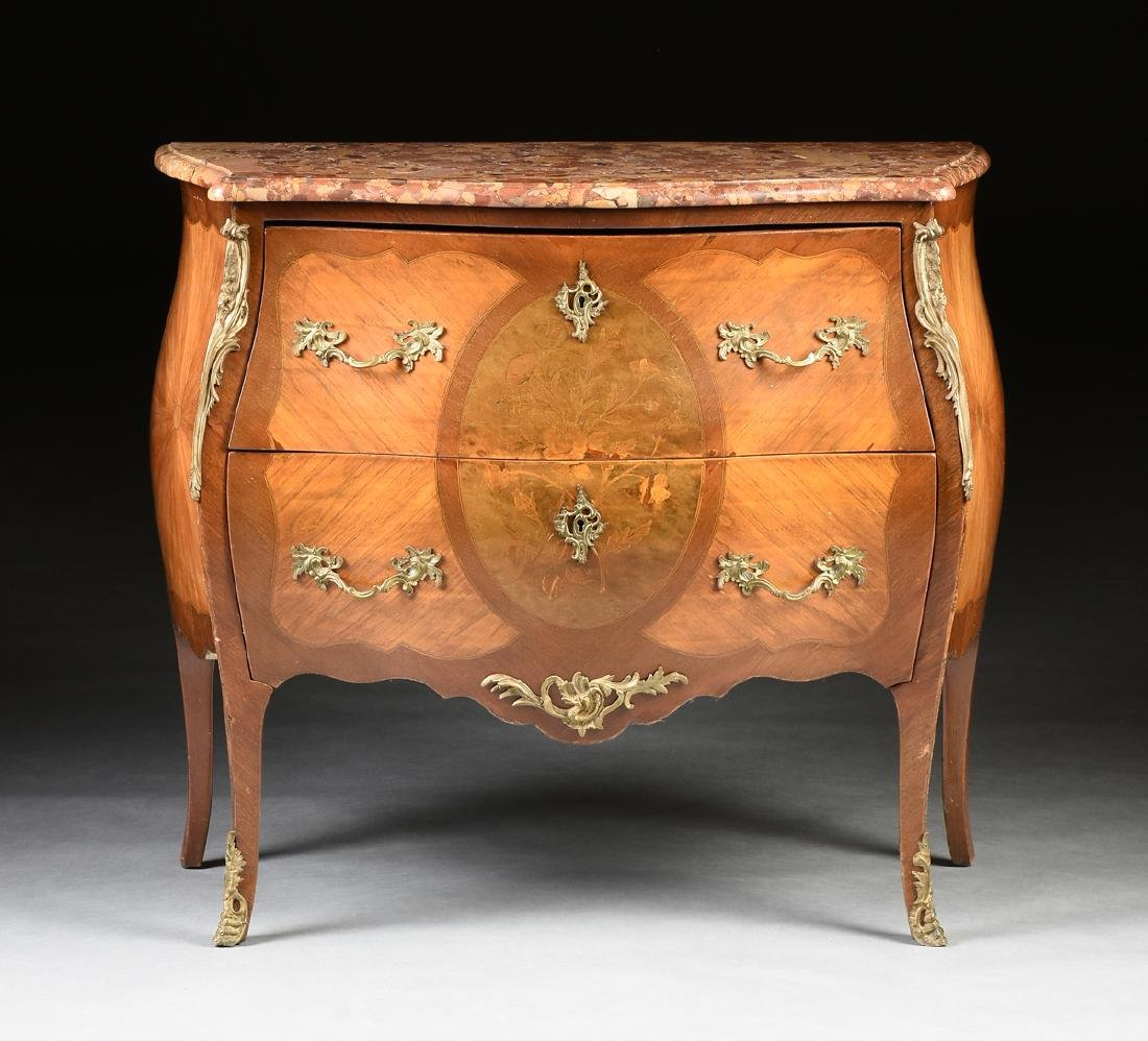 A FRENCH LOUIS XV STYLE MARQUETRY INLAID MIXED WOOD