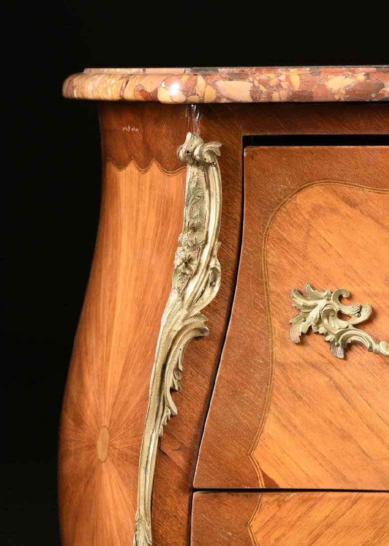 A FRENCH LOUIS XV STYLE MARQUETRY INLAID MIXED WOOD - 2